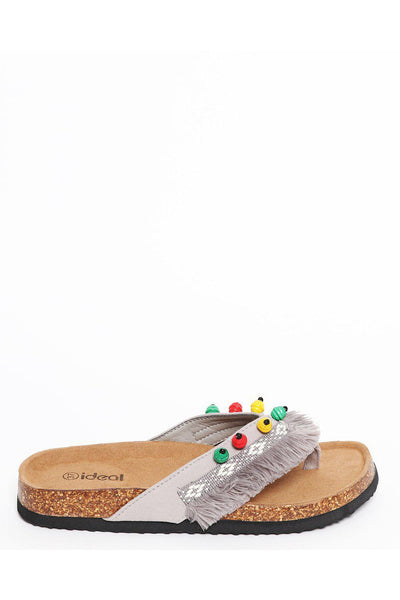 Grey Cork Platform Fringed Boho Sandals-SinglePrice