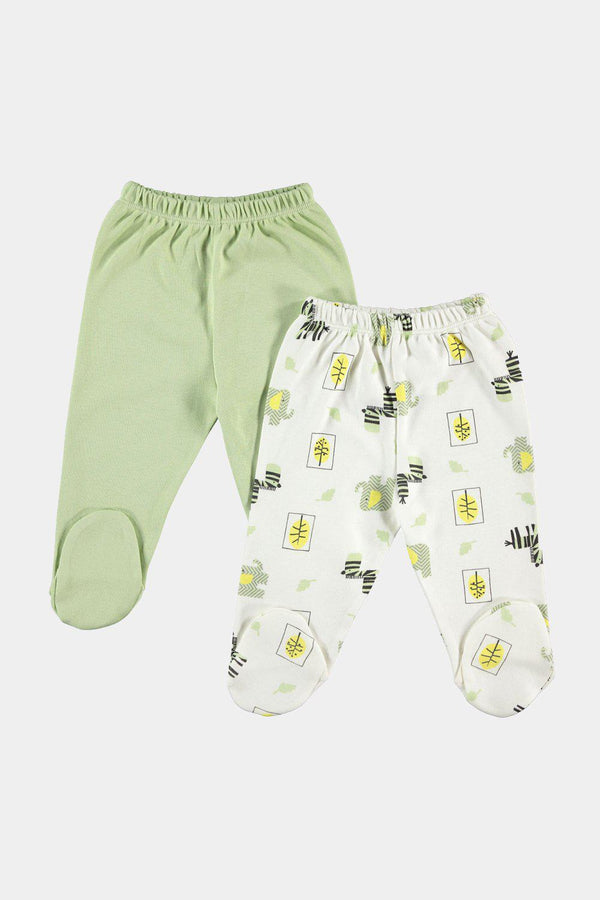 Green Newborn Baby 2-Pack Footed Cotton Pants-SinglePrice