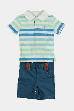 100% Cotton Suspender Shorts And Polo Shirt Boys Set - SinglePrice