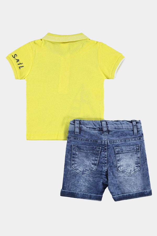 100% Cotton with Elastane Yellow Sail Print Top And Denim Shorts Boys Set - SinglePrice