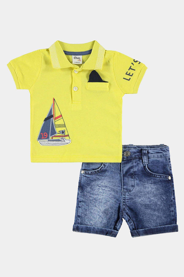 %100 Cotton with Elastane Yellow Sail Print Top And Denim Shorts Boys Set - SinglePrice