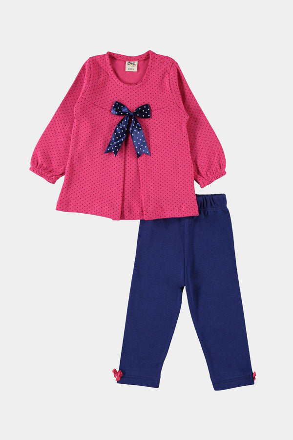 Pink And Navy Polka Dot Baby Girl Cotton Loungewear Set - SinglePrice