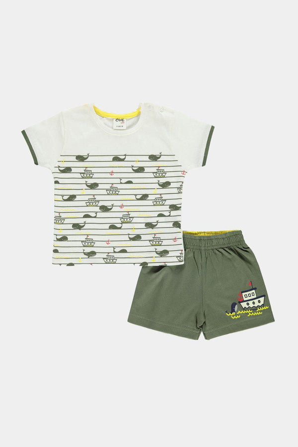 100% Cotton Nautical Khaki Print Baby Boy Top And Shorts Set - SinglePrice