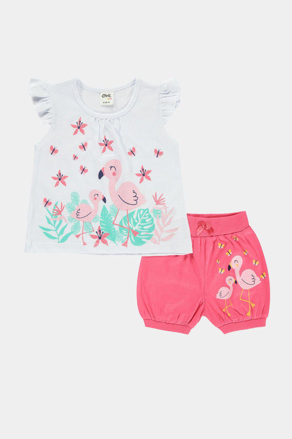 Flamingo Print White Top And Pink Shorts Baby Girl Set-SinglePrice