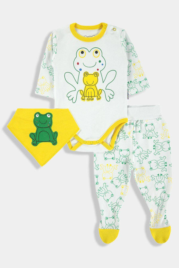 Yellow Green Frogs Print Baby Unisex 3 Piece Set - SinglePrice
