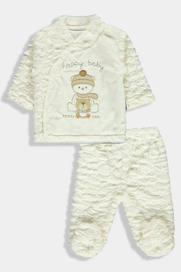 Cream Faux Fur Happy Bear Newborn Boy Set
