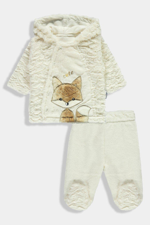 Cream Faux Fur Hooded Cute Fox Newborn Girl Set-SinglePrice