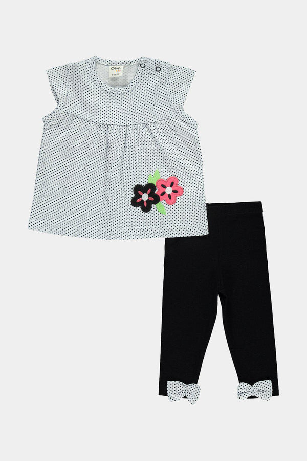 Dark Blue 100% Cotton Polka Dot Floral Baby Girl Set - SinglePrice