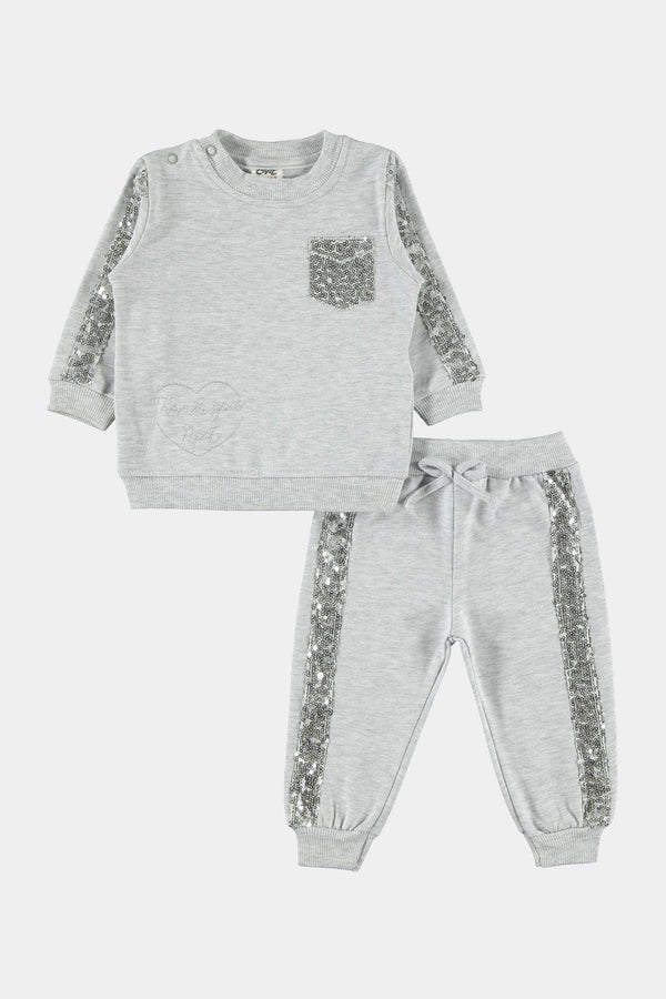 Grey 100% Cotton Sequins Embellished Baby Girl Tracksuit - SinglePrice