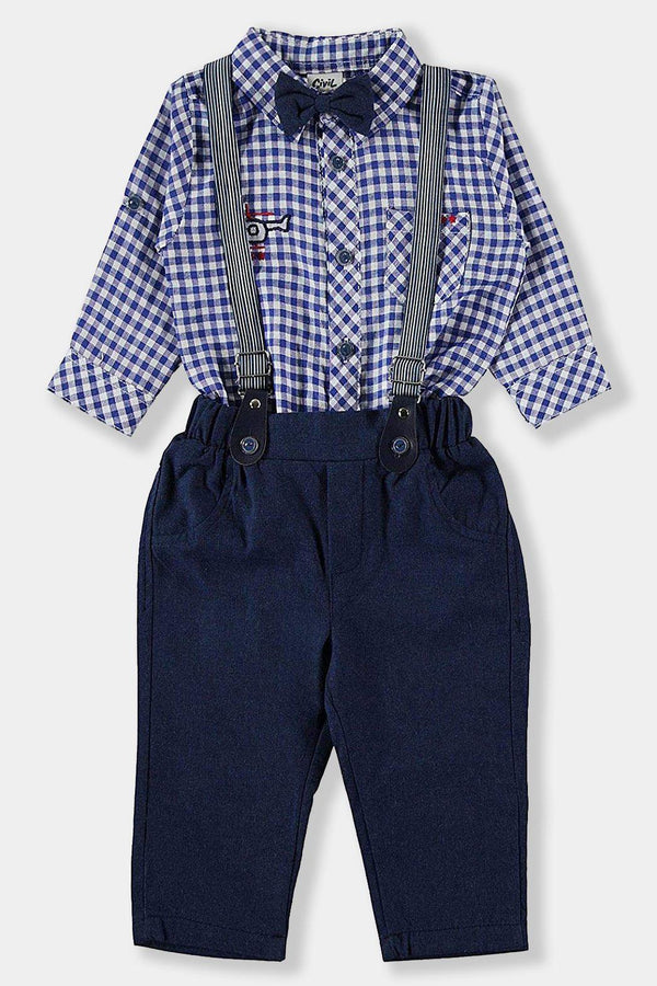 Checked Shirt And Navy Suspender Trousers Baby Boy Set