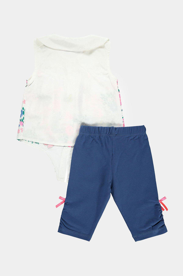 White Floral Print Front Tie Top And Shorts Girls Set - SinglePrice