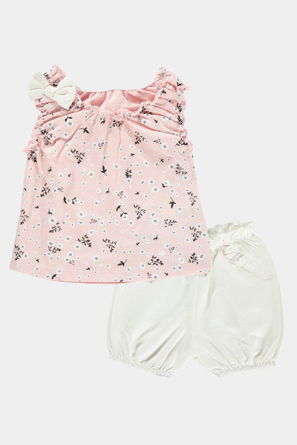 Pink Floral Top And Shorts Girls Set - SinglePrice