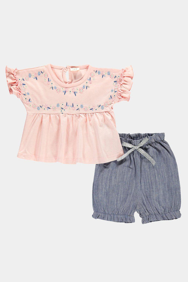 Light Pink Embroidered Top And Shorts Baby Girl Set - SinglePrice