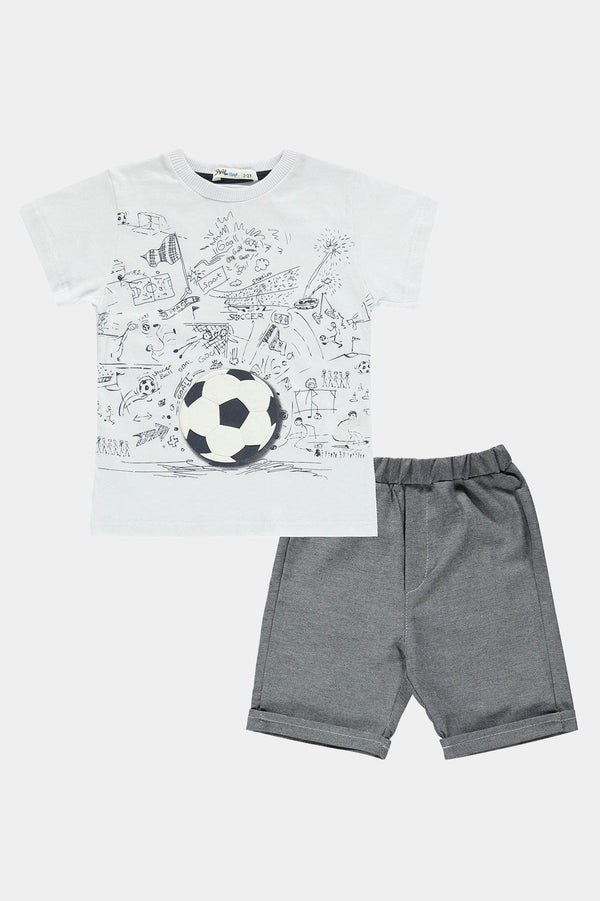 White Football Print Boys T-Shirt And Shorts Set - SinglePrice