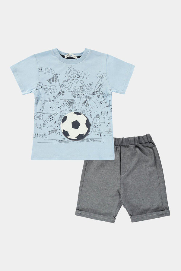 Blue Football Print Kids Boy T-Shirt And Shorts Set - SinglePrice