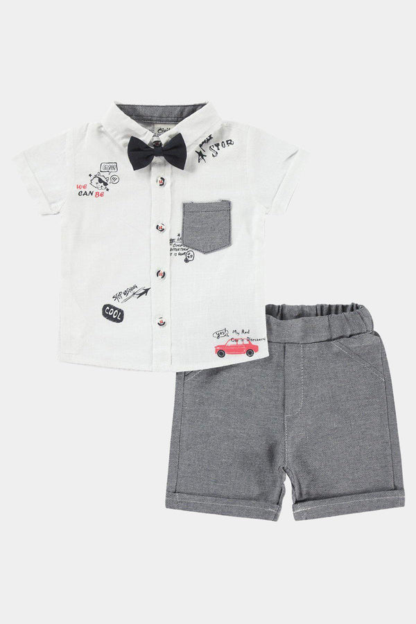 Cotton Bow Tie Printed Shirt And Shorts Boys Set - SinglePrice