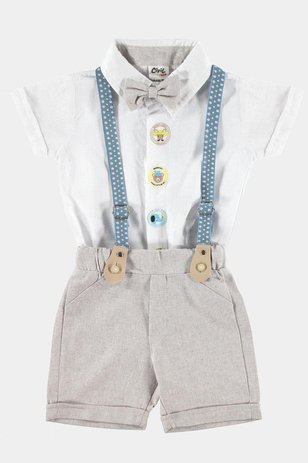 Polka Dot Suspenders Bow Tie Shirt And Shorts Boys Set - SinglePrice