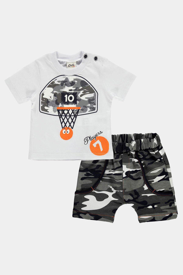 Cotton White Camouflage Print T-Shirt And Shorts Boys Set - SinglePrice