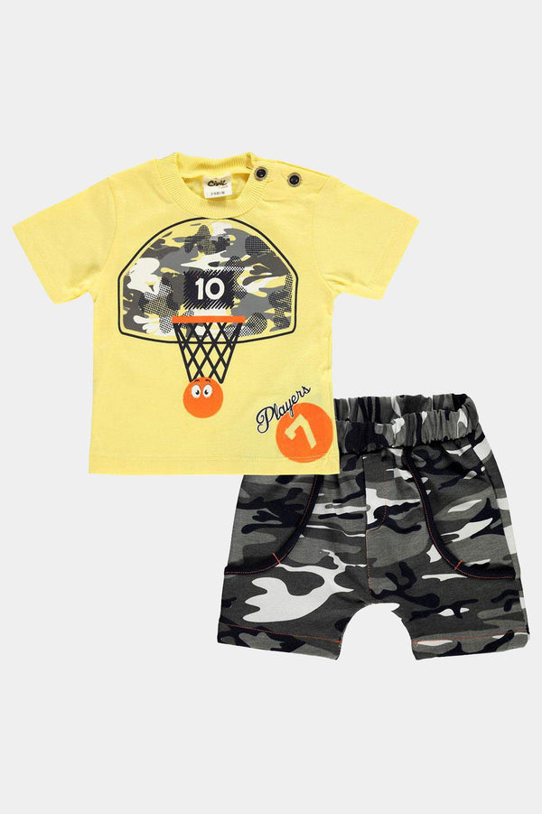 Cotton Yellow Camouflage Print T-Shirt And Shorts Boys Set - SinglePrice