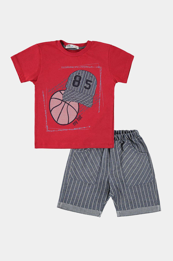 Red Basketball Print T-Shirt And Shorts Boys Set - SinglePrice