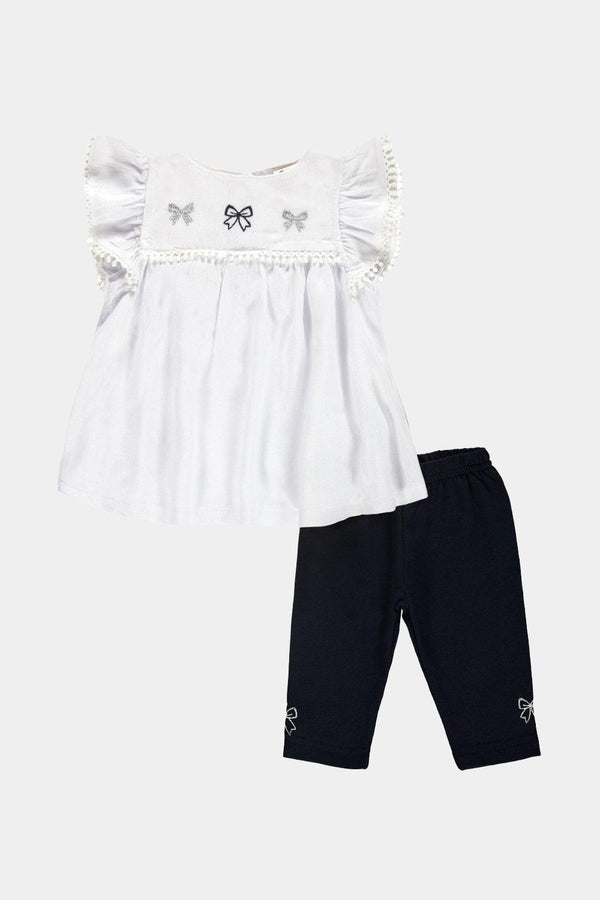 Off White Embroidered Tunic And Leggings Baby Girl Set - SinglePrice