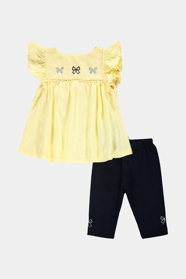 Yellow Embroidered Tunic And Leggings Baby Girl Set - SinglePrice