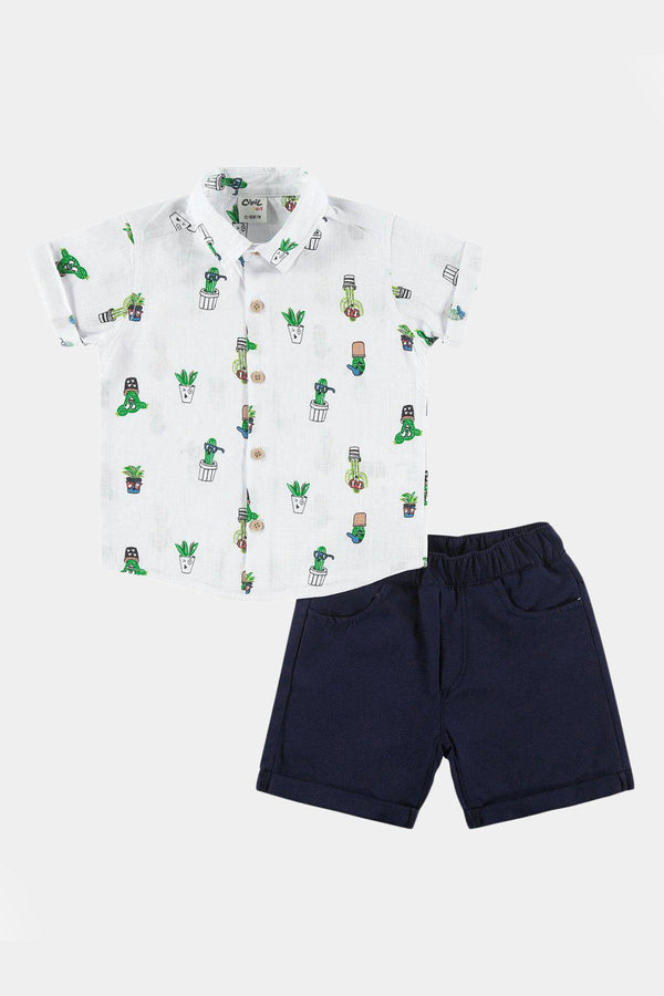 Cactus Print Civil Baby 100% Cotton Baby Boy Set with Short Sleeve Shirt and Short - SinglePrice