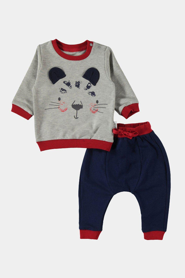 Red Trims Animal Face Baby Boy Set - SinglePrice