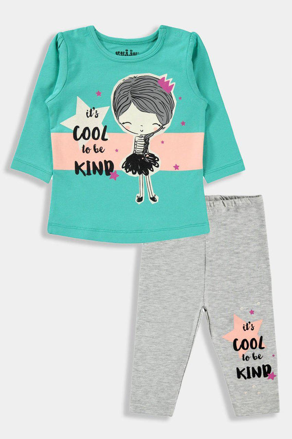 Dark Mint And Grey Slogan Baby Girl Set - SinglePrice