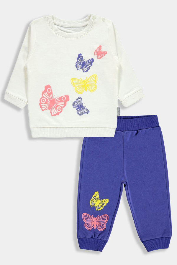 Multicolour Butterfly Print Baby Girl Set - SinglePrice