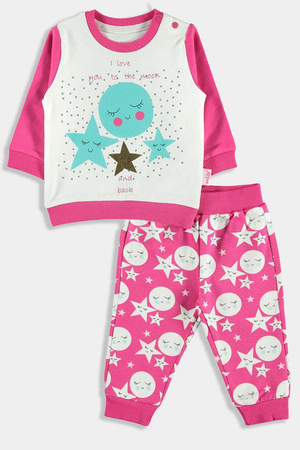 Fuchsia Sleepy Moon And Stars Baby Girl Set - SinglePrice