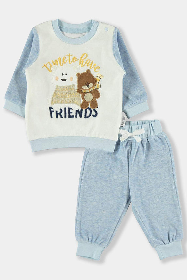 Blue Velvet Time To Have Friends Baby Boy Set