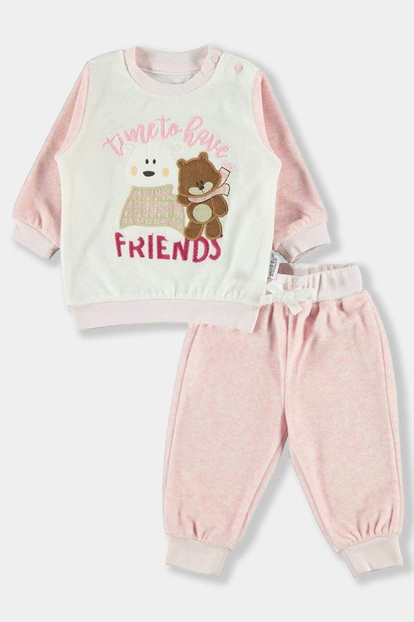 Pink Velvet Time To Have Friends Baby Boy Set