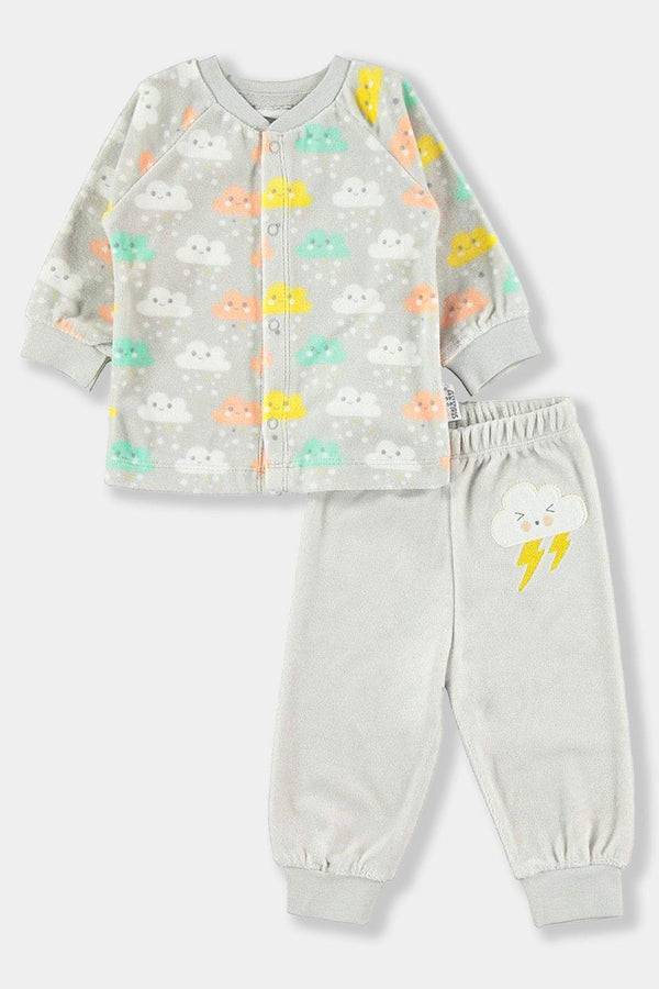 Multicolour Clouds Grey Velvet Baby Unisex Set