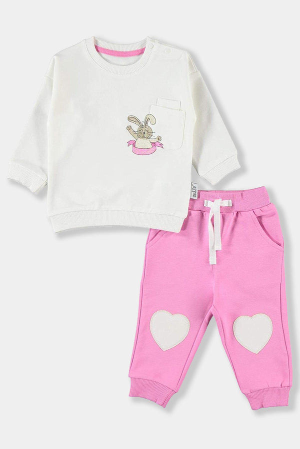 Heart Patch Detail White Pink Bunny Baby Girl Cotton Set