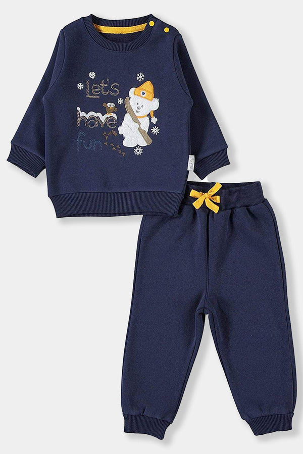 Dark Blue Yellow Details Embroidered Baby Boy Set - SinglePrice