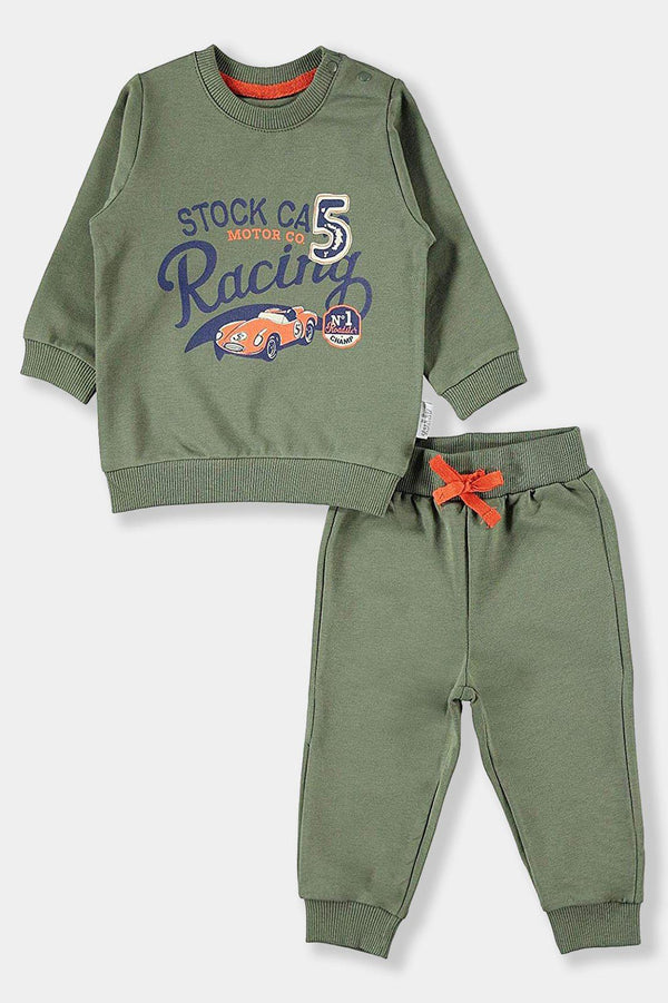 Khaki Racing Cars Baby Boy Set