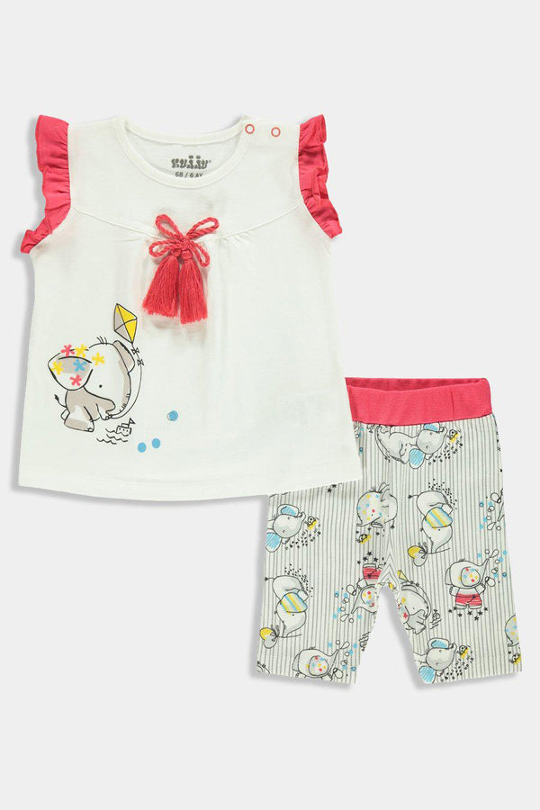 Playful Elephant Print Baby Girl Set - SinglePrice