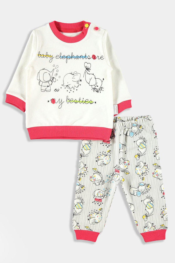 Pomegranate Baby Elephants Print Baby Girl Set - SinglePrice