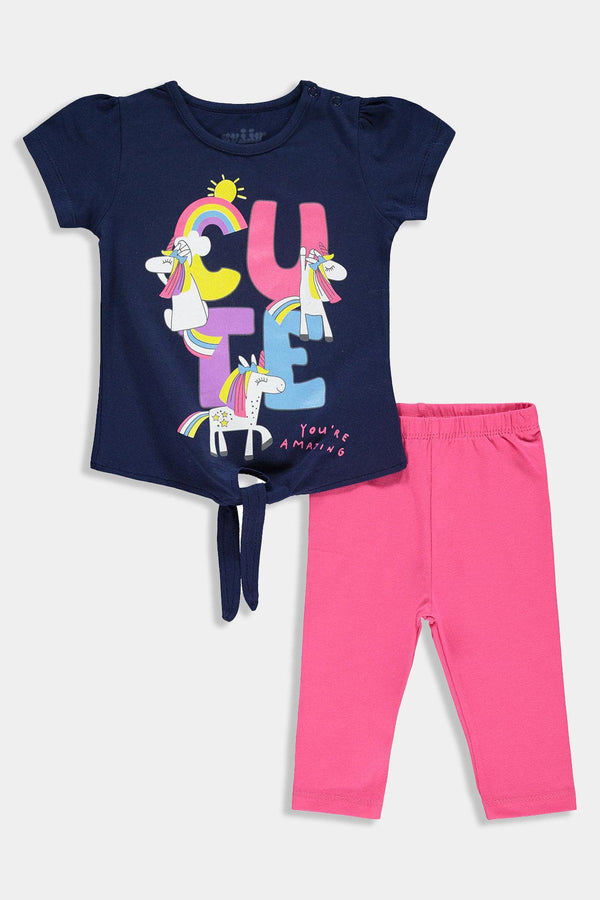 Cute Print Front Tie T-Shirt And Bottoms Baby Girl Set - SinglePrice