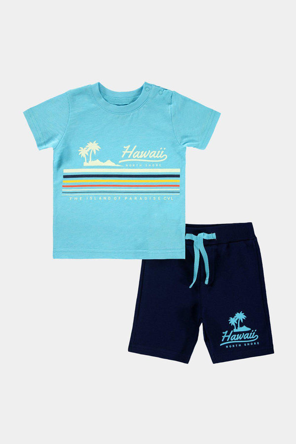Turquoise Hawaiian Print Baby Boy T-Shirt And Shorts Set - SinglePrice