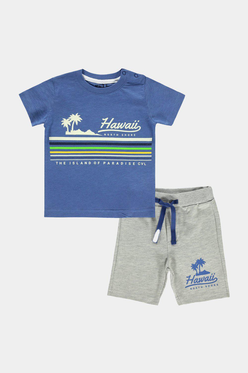 Light Indigo Hawaiian Print Baby Boy T-Shirt And Shorts Set - SinglePrice