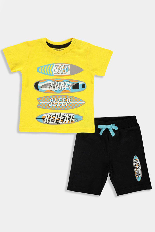 Yellow Surf Print Baby Boy Set - SinglePrice