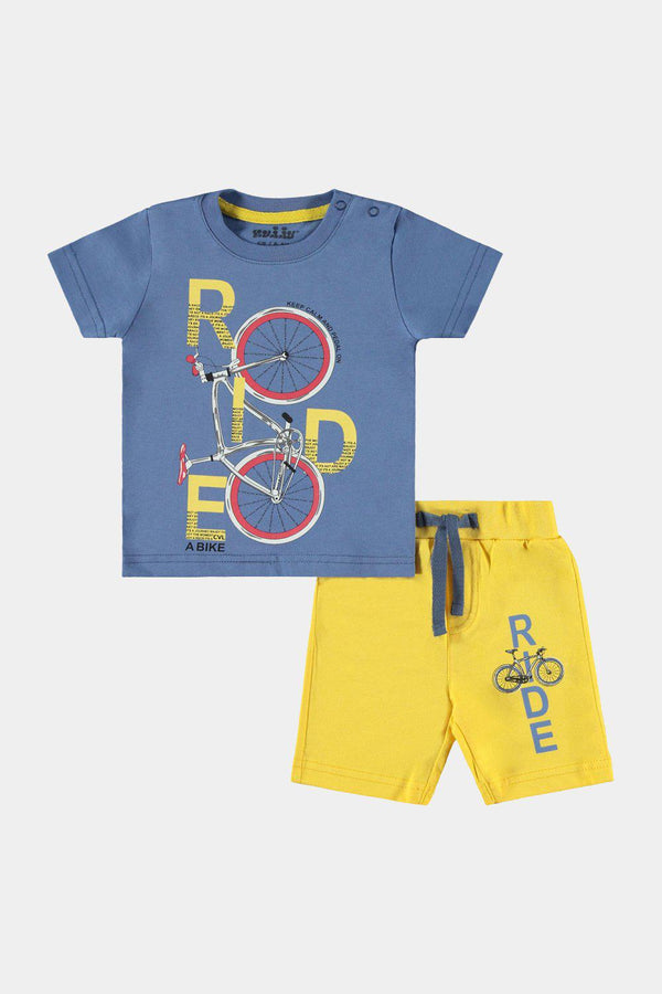 Navy Yellow Ride Print Shorts And Top Baby Boy Set - SinglePrice