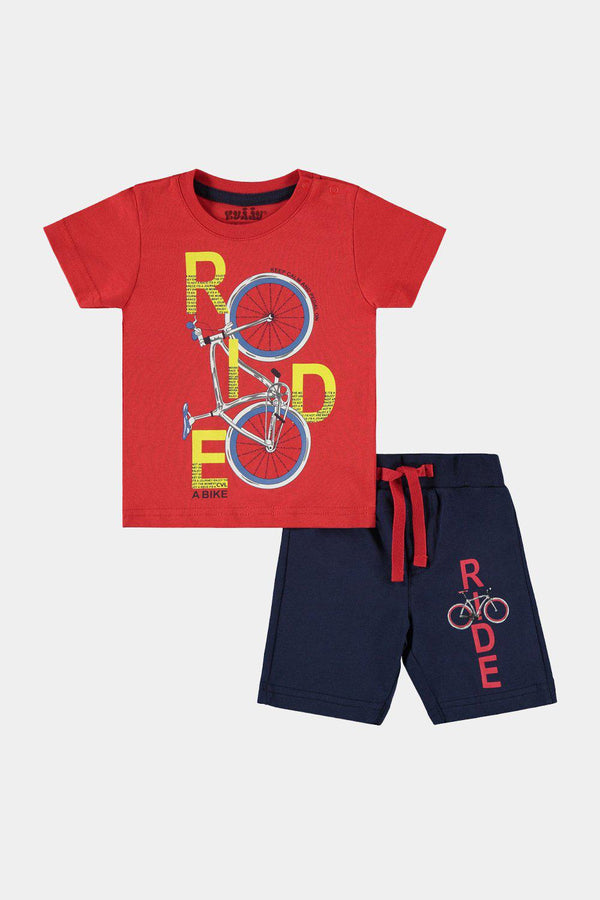 Red Navy Ride Print Shorts And Top Baby Boy Set - SinglePrice