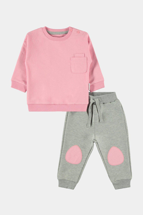 100% Cotton Patch Detail Pink And Grey Baby Girl Set - SinglePrice
