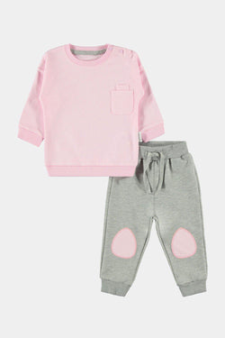 100% Cotton Patch Detail Light Pink And Grey Baby Girl Set - SinglePrice