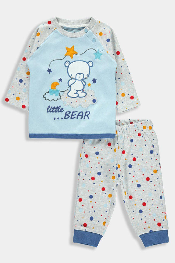 Blue Grey Sleepy Bear Print Baby Boy Set - SinglePrice