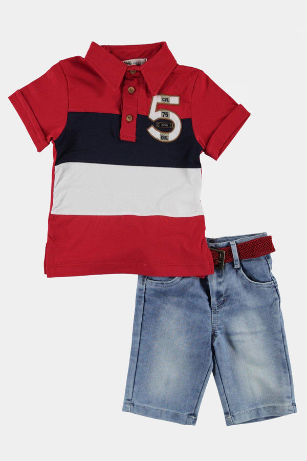 Large Stripes Civil Baby 100% Cotton Boy Cloth Set with Polo T-Shirt and Jean Shorts - SinglePrice