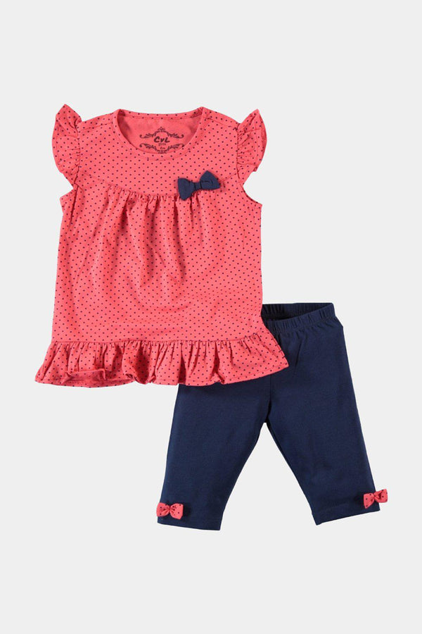 Pomegranate Polka Dot And Bows Kids Girl Set - SinglePrice